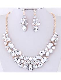 Fashion White Full Diamond Decorated Jewelry Set