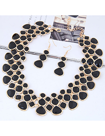 Fashion Black Full Diamond Decorated Jewelry Set