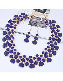 Fashion Sapphire Blue Full Diamond Decorated Jewelry Set