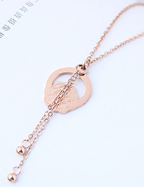 Fashion Rose Gold Flower Shape Decorated Tassel Necklace