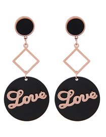 Fashion Rose Gold Letter Pattern Decorted Earrings