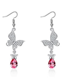 Fashion Silver Color+plum Red Butterfly Shape Decorated Earrings