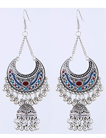 Sweet Red+blue Moon Shape Design Long Earrings