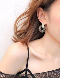 Fashion Black Full Diamond Decorated Earrings