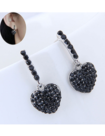 Fashion Black Heart Shape Decorated Earrings