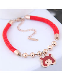 Fashion Red+gold Color Pig Shape Decorated Bracelet