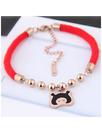 Simple Multi-color Pig Shape Decorated Bracelet