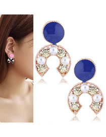 Fashion Sapphire Blue Pearl Decorated Earrings