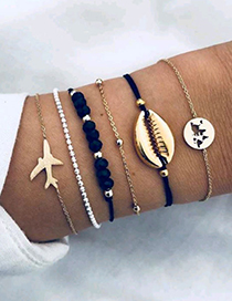 Elegant Gold Color+navy Aircraft&shell Decorated Bracelet(6pcs)