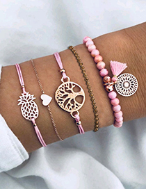 Elegant Pink Pineapple&tassel Decorated Bracelet(5pcs)