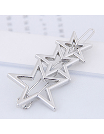 Fashion Silver Color Star Shape Decorated Hair Clip