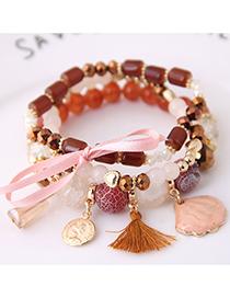 Fashion Brown Tassel Decorated Crystal Bracelet