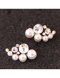 Fashion White Flash Diamond Pearl Stud Earrings
