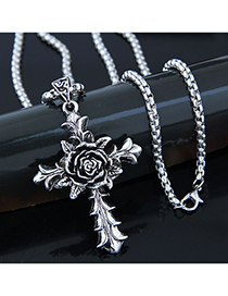 Fashion Silver Metal Rose Cross Long Necklace