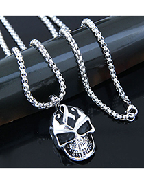 Fashion Silver Metal Skull Long Necklace