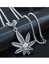 Fashion Silver Metal Maple Leaf Long Necklace