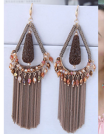 Fashion Coffee Color Fringed Crystal Drop Earrings