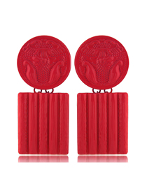 Fashion Red Metal Contrast Color Flower Carving Badge Square Earrings
