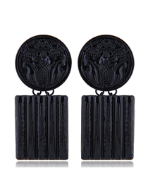 Fashion Black Metal Contrast Color Flower Carving Badge Square Earrings