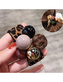 Fashion Leopard Leopard Pearl Rubber Hair Band