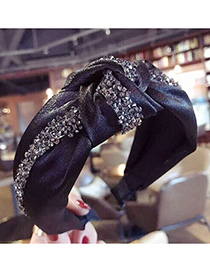 Fashion Gray Diamond Cloth-encrusted Bow With Wide-brimmed Headband