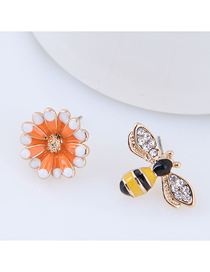 Fashion Orange + Yellow Flower Bee Asymmetric Earrings