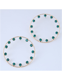 Fashion Green Metal Ring Earrings