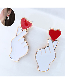 Fashion White Red Heart Gesture Earrings