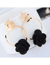 Fashion Black Metal Fabric Small Flower Earrings