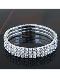 Fashion Silver (three Rows) Metal Diamond Bracelet