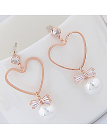 Fashion Gold 925 Silver Needle Love Pearl Stud Earrings