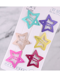 Fashion Color Children's Five-pointed Star Hairpin