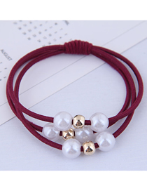 Fashion Red Pearl Hair Ring