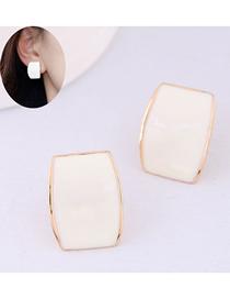 Fashion White Glaze Ear Studs