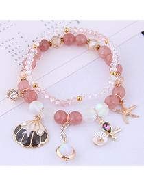Fashion Pink Shell Crystal Beaded Multi-layer Bracelet