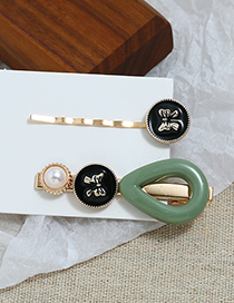 Fashion Green Pearl Hair Clip Two-piece