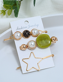 Fashion Green Metal Five-pointed Star Pearl Three-piece Hair Clip