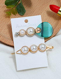 Fashion Green Pearl Three-piece Hair Clip