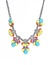 Fashion Color Metal Flash Diamond Flower Necklace