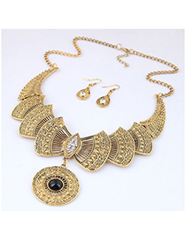 Fashion Gold Metal Bow Necklace Earring Set