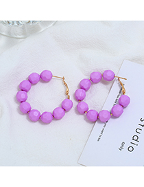 Fashion Purple Beaded Round Earrings