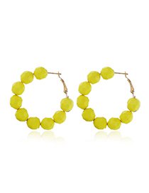 Fashion Yellow Beaded Round Earrings