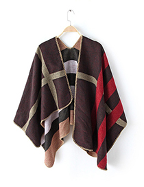 Fashion Claret Red+red Stripe Pattern Decorated Cloak