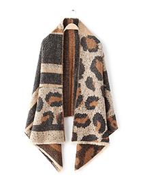 Fashion Khaki Leopard Pattern Decorated Scarf