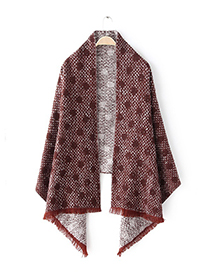 Fashion Claret Red Dots Pattern Decorated Scarf