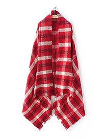 Fashion Red Grids Pattern Decorated Scarf