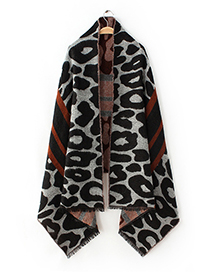 Fashion Black Leopard Pattern Decorated Scarf