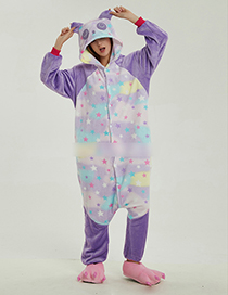 Fashion Purple Panda Shape Decorated Star Pattern Jumpsuit(for Adult)