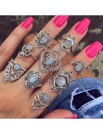 Fashion Silver Color Flower Shape Decorated Rings(9pcs)