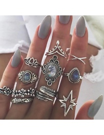 Fashion Silver Color Waterdrop Shape Decorated Rings(11pcs)